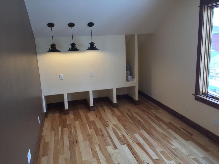 finishing the interior office space, wood floors, paint