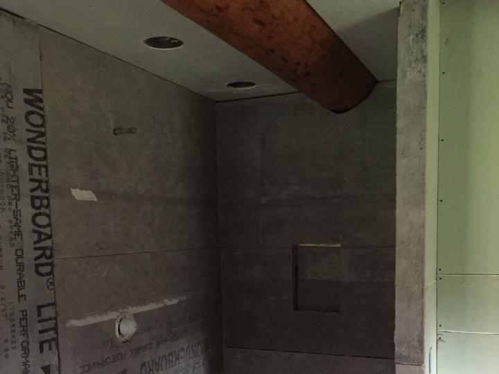 Cement board on shower walls