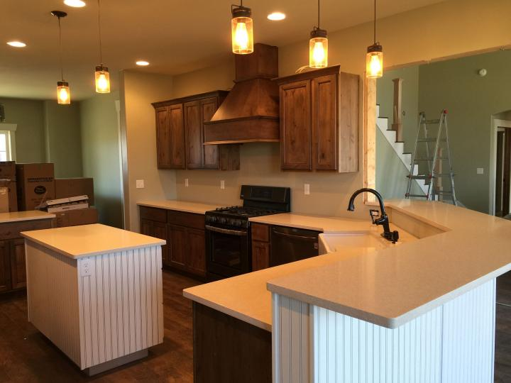 Kitchen range hood cabinets completed counter