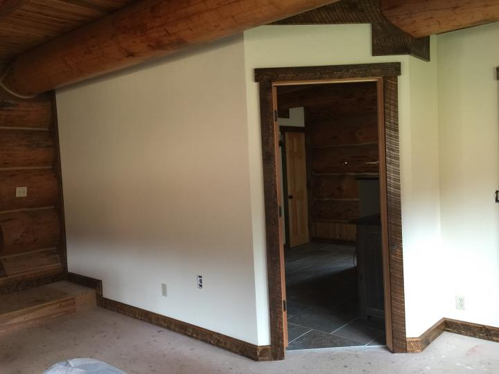 drywall with skip trowel texture and trim