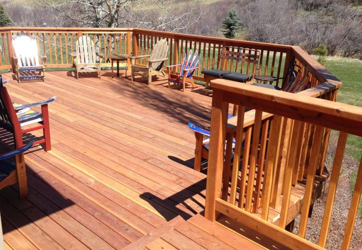 framed deck and handrail
